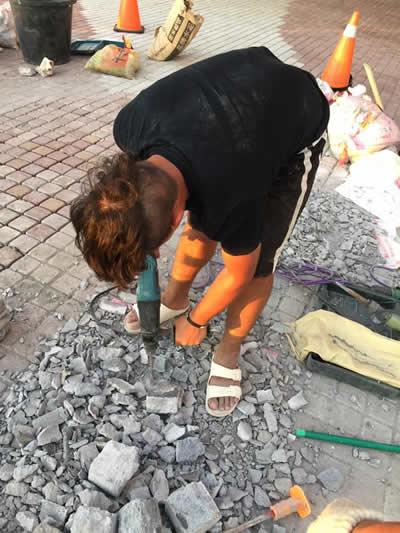 高級五星飯店 墾丁H會館 麵包磚鋪貼